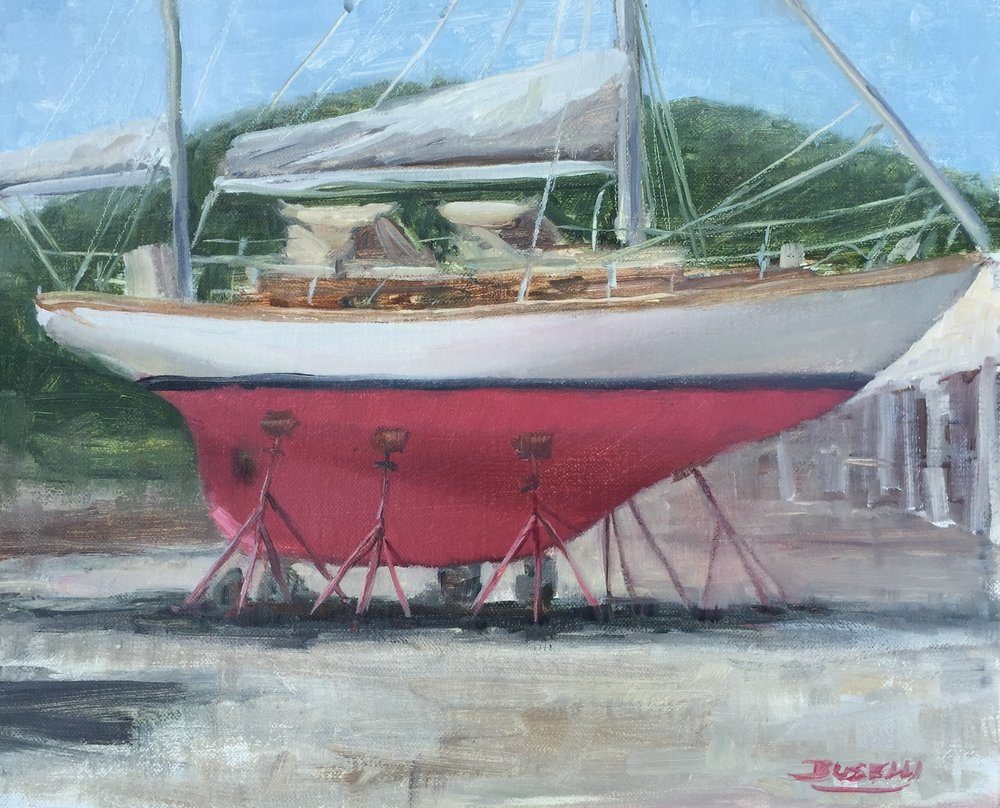 "CHEOY LEE YAWL RIG - dry docked  oil on linen | 10"" x 12"""