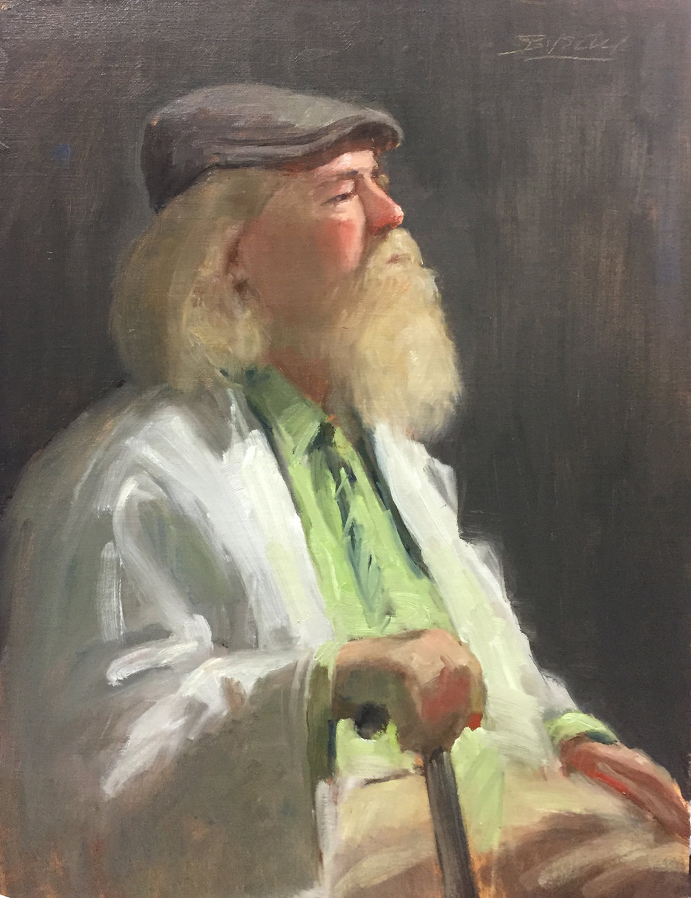 "MAN WITH CAP & BEARD  oil on linen | 16"" x 12"""