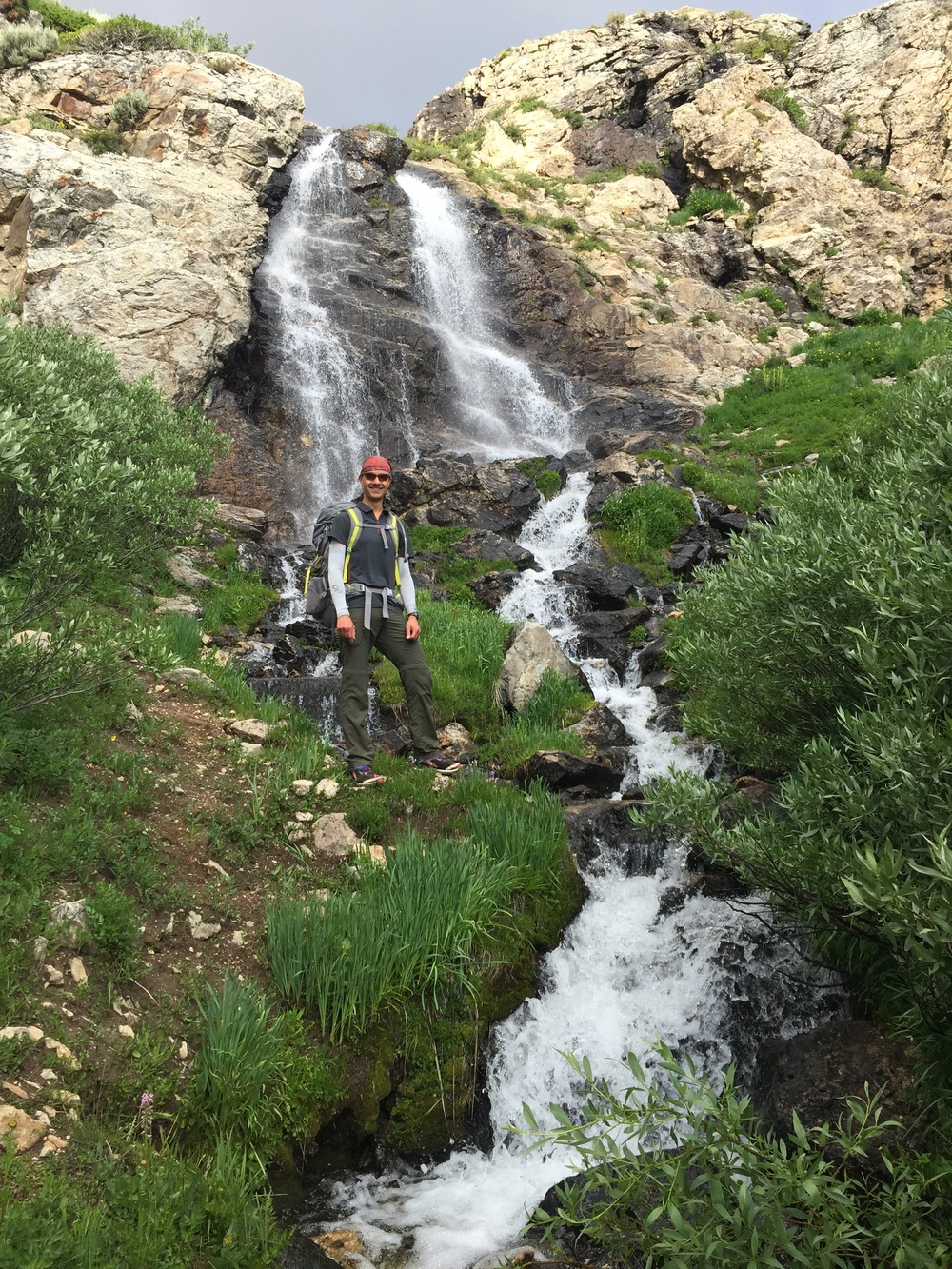 Andrew at the base of the Overland Creek cascade