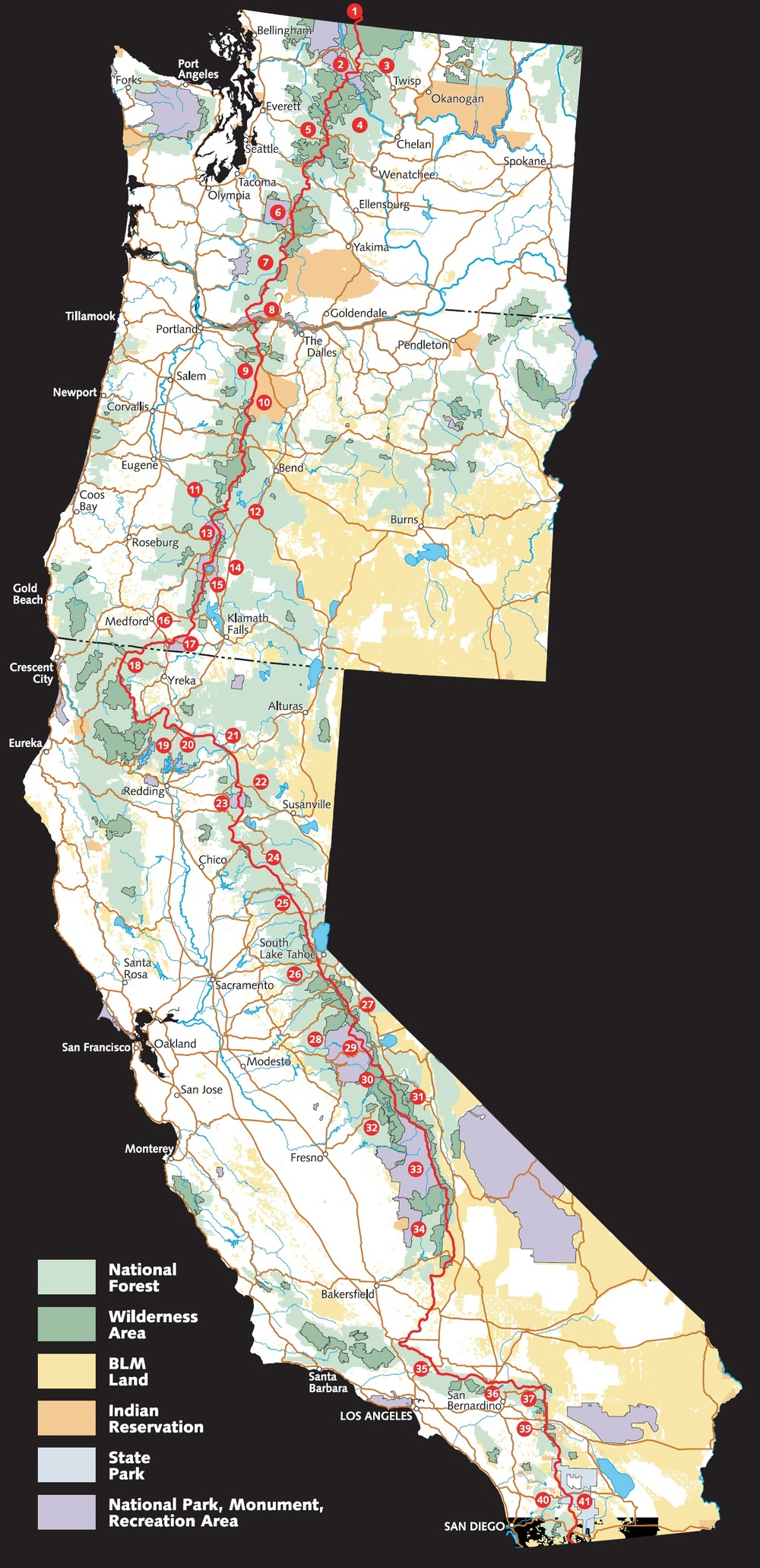 Pacific Crest Trail overview map