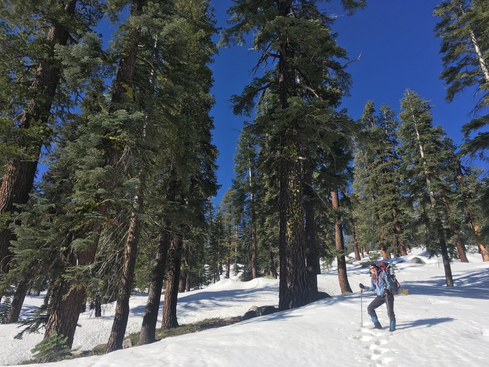 Cheri headed up Indian Rock with that deep blue Sierra sky