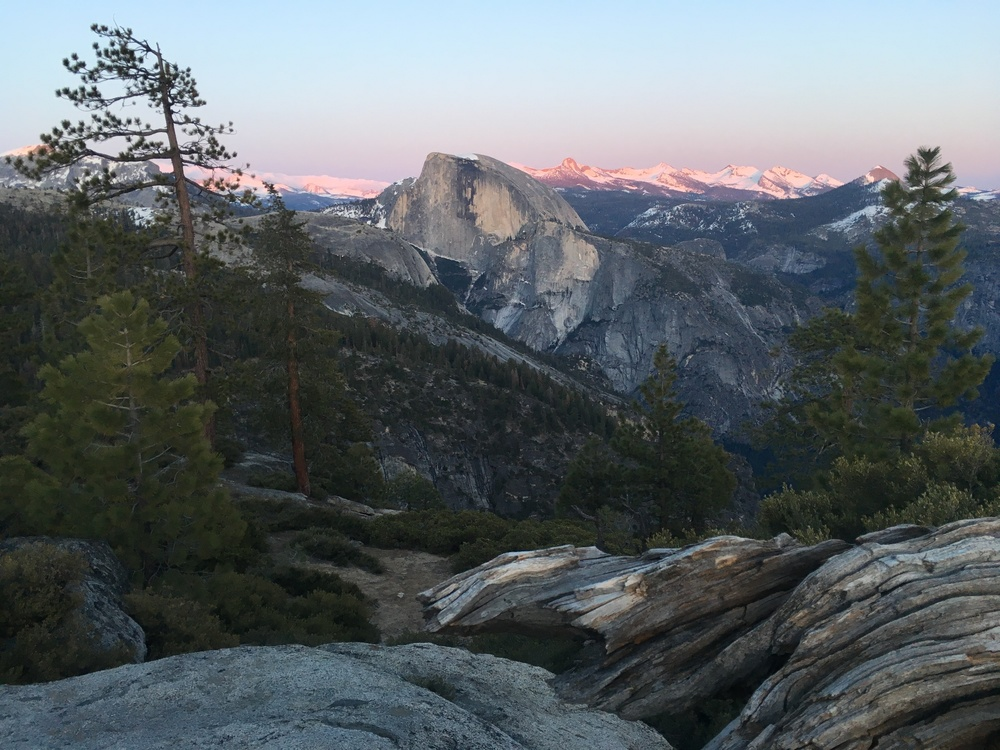Half Dome and alpenglow on the Clark Range
