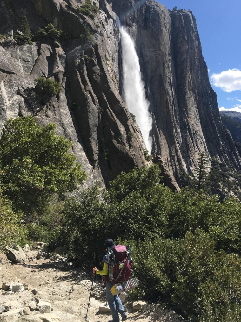 Cheri hiking the switchbacks towards the base of Yosemite Falls