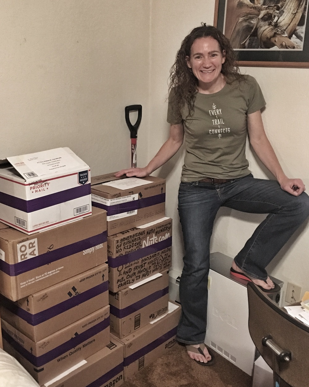 Nine maildrop re-supply boxes ready to be sent out over the course of this summer and fall during our PCT thru-hike