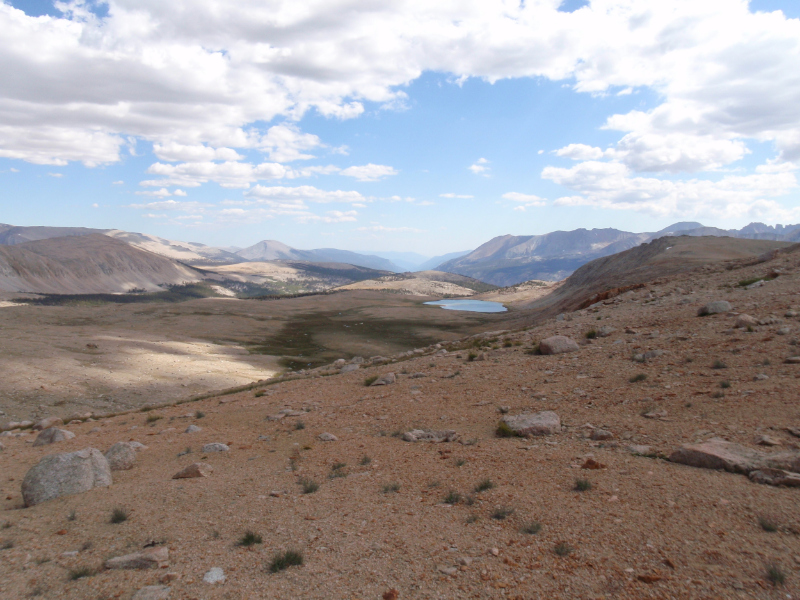 "View south from final climb into Upper Kern Basin, with ""infinity tarn"" visible in the distance"