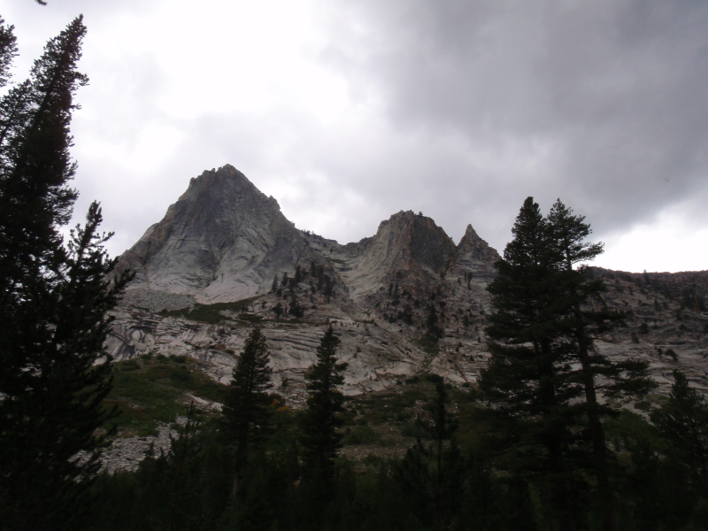 Peaks above upper Deadman Canyon with late afternoon stormclouds building