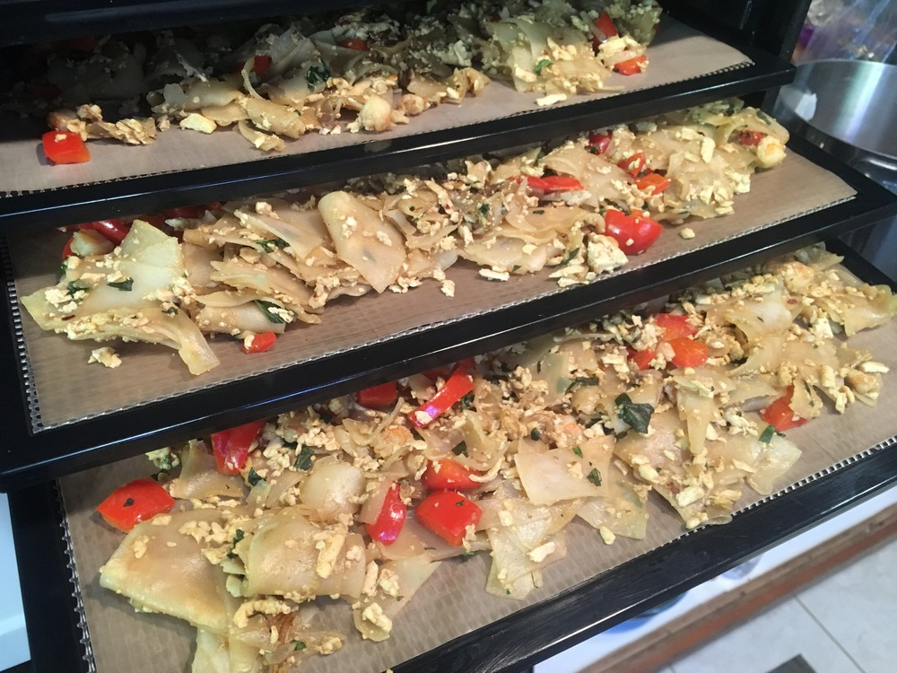 Drunken Noodles/Pad Kee Mao fresh out of the wok and ready to dehydrate. Next stop the PCT!