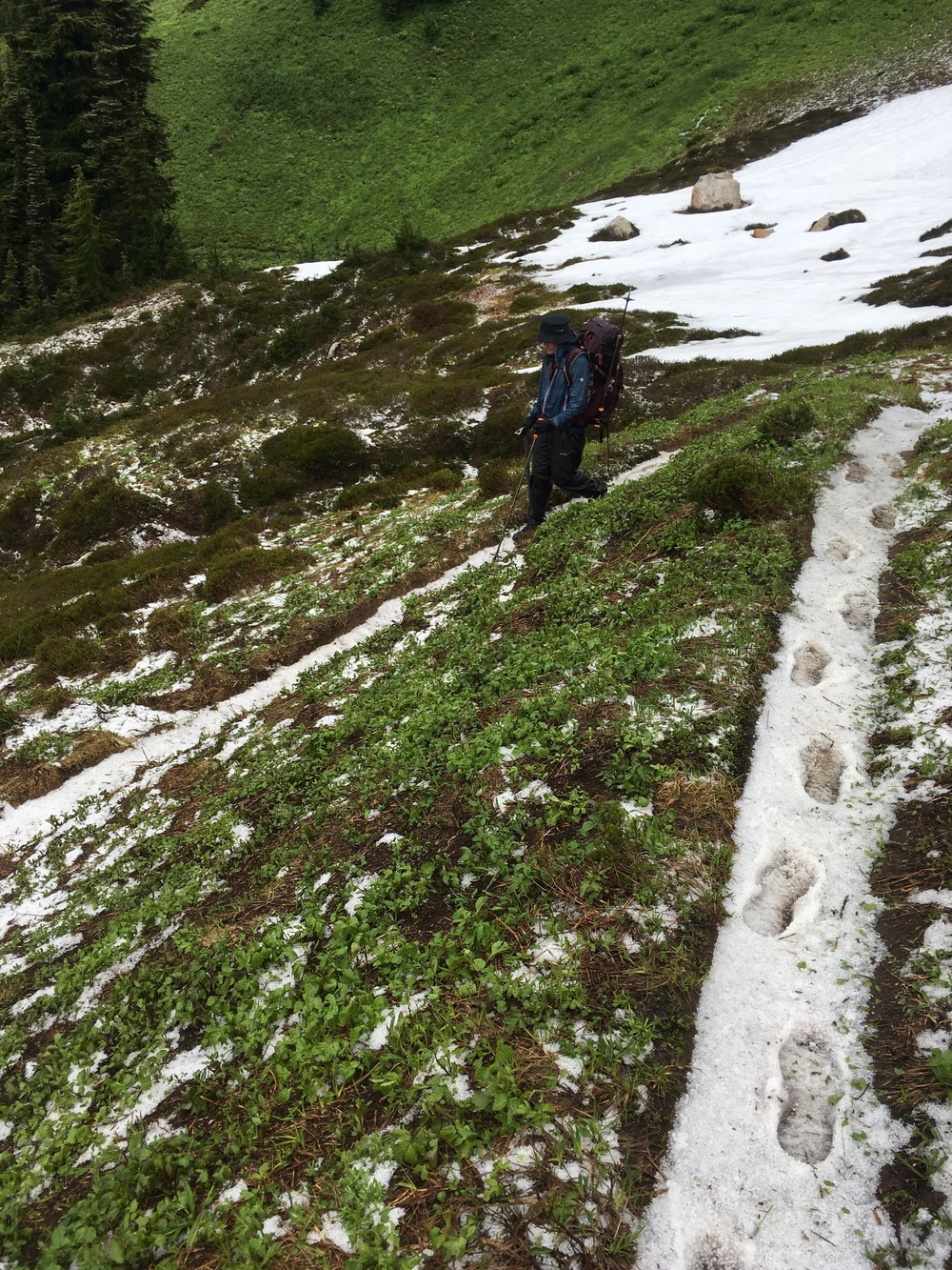 Hail covering the trail after Fire Creek Pass.