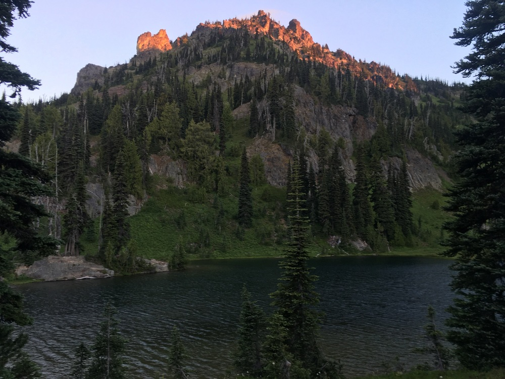 Alpenglow on the peaks above Sheep Lake.