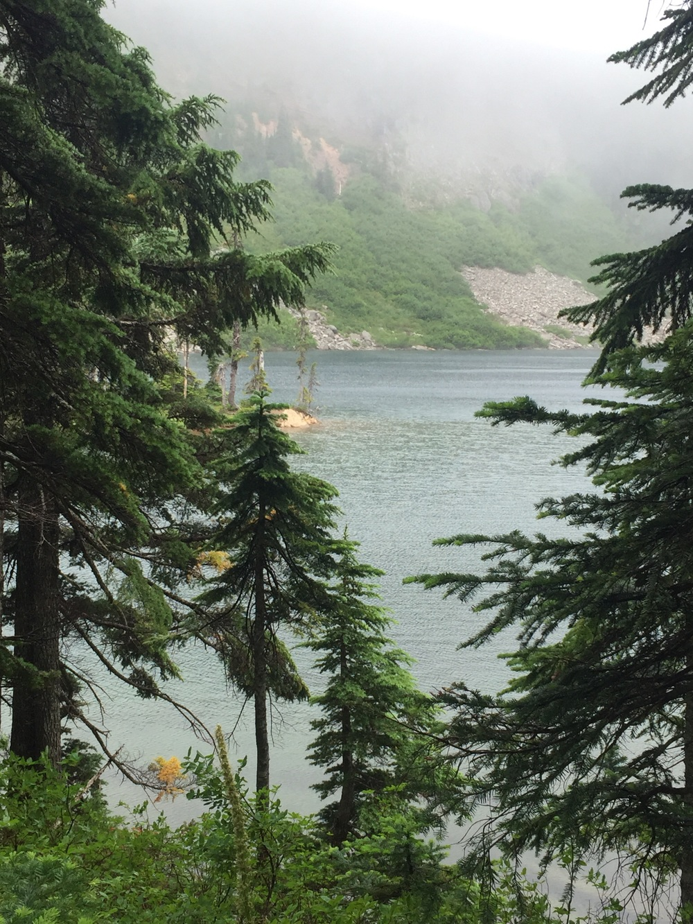 Blue Lake in roaring fog. No campers, no mosquitos.