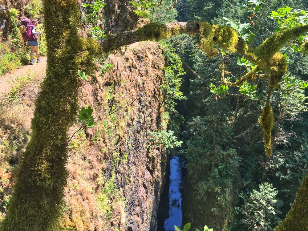 Walking the Eagle Creek Trail through a narrow section of the gorge with the creek far below