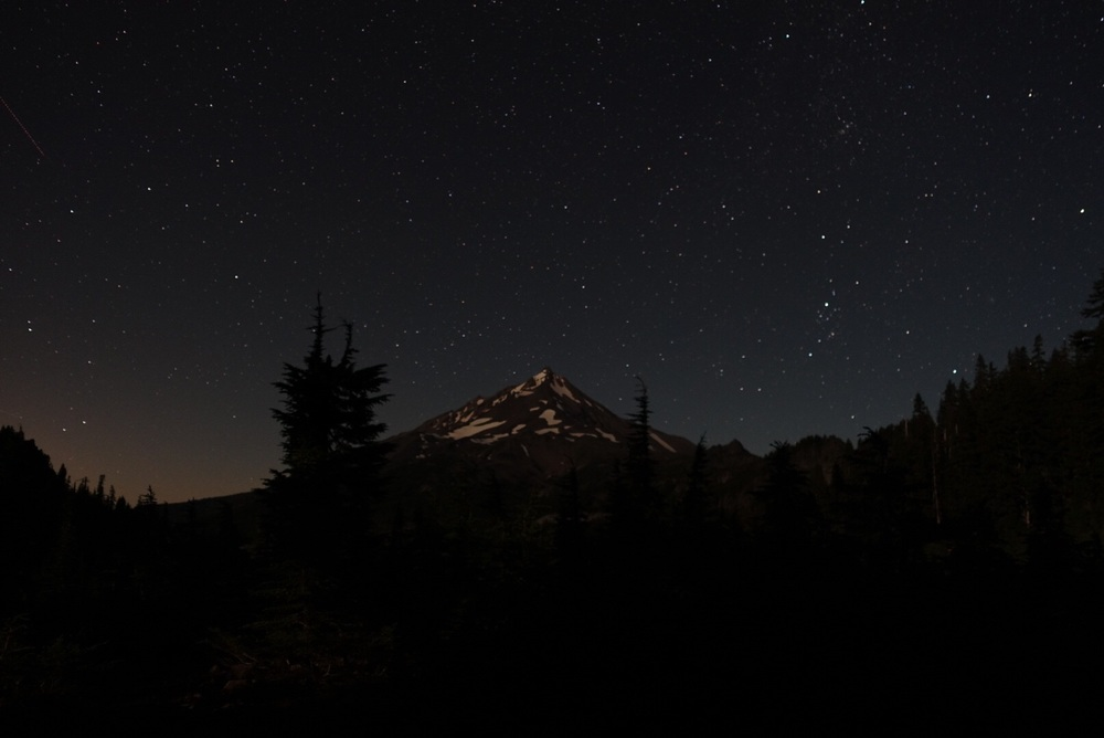 Quite possibly the best campsite in OR, this is the view of Mt Jefferson from our sleeping bags on the night of the Perseid meteor shower