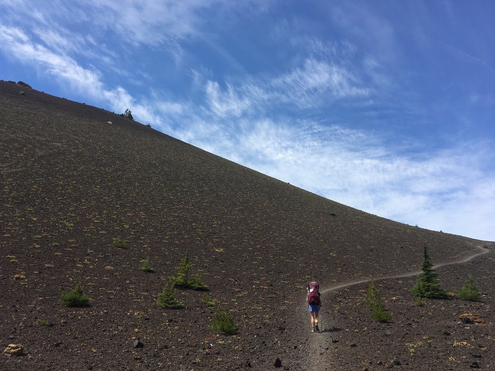 The trail climbs around Yapoah Crater
