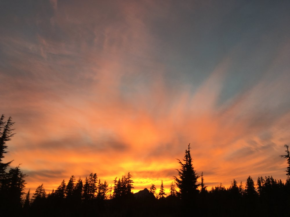 Sunset over Broken Top Mountain.