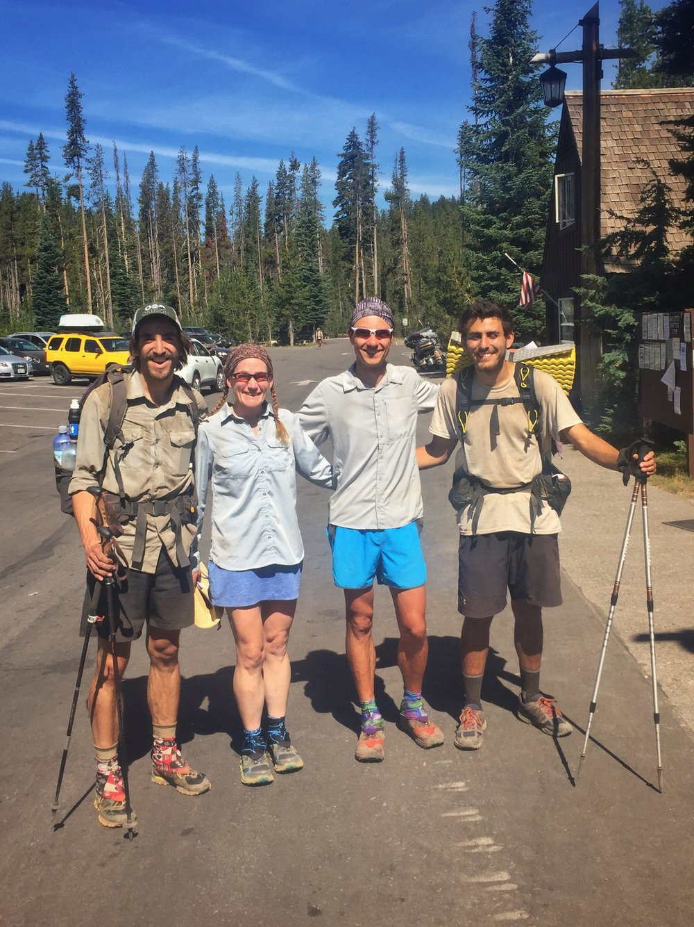 The SOBO reunion at Mazama Village. L->R: Happy Feet, Huckleberry, Macro and Delta