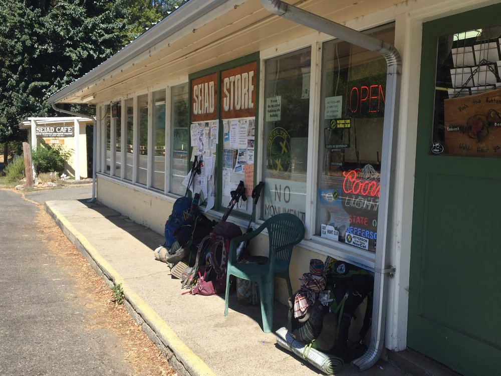 Backpacks outside the Seiad Valley Store