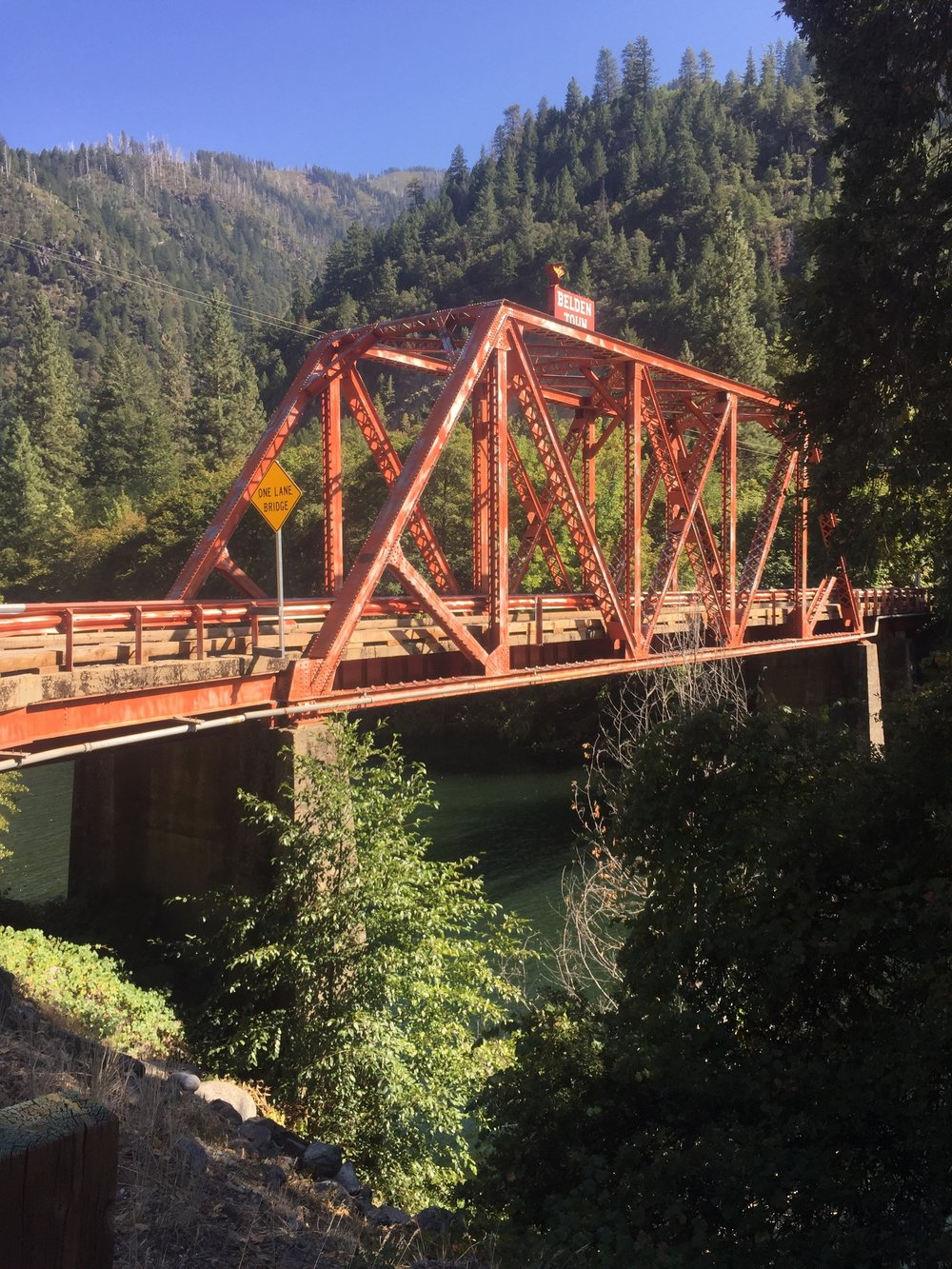 Historic Belden Town bridge over the north fork