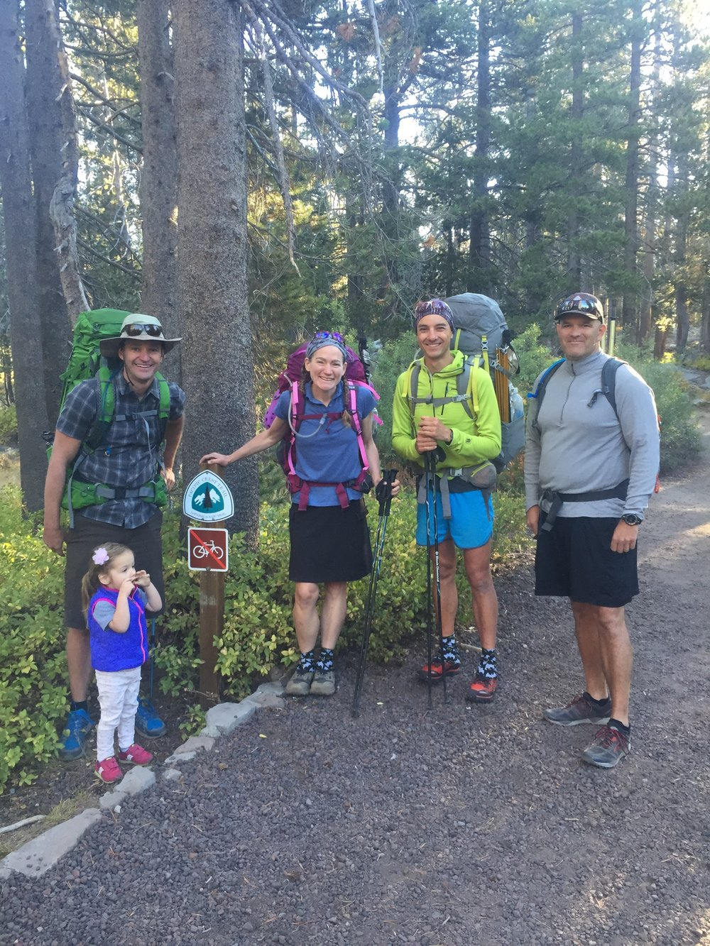 Ready to hike! Bryan, Huckleberry, Macro, Matt, with Annika for good measure (PC - Becky)