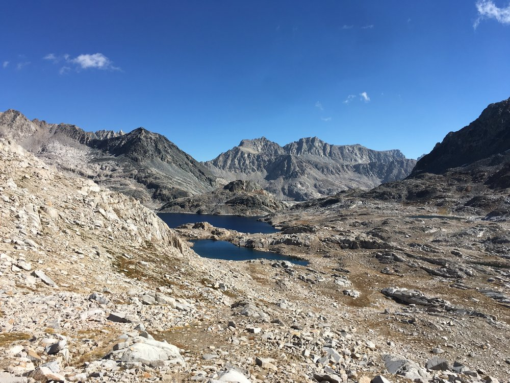 Helen Lake and the Black Divide as we head south from Muir Pass.