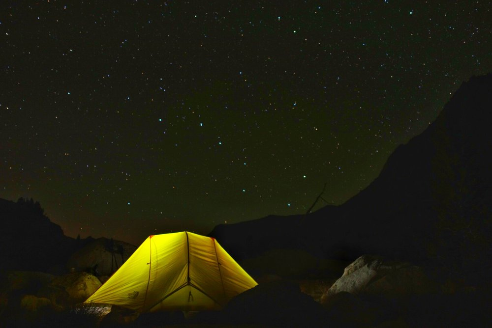 At home in our TNF Mica 2 under Ursa Major at Evolution Lake (10,852') .