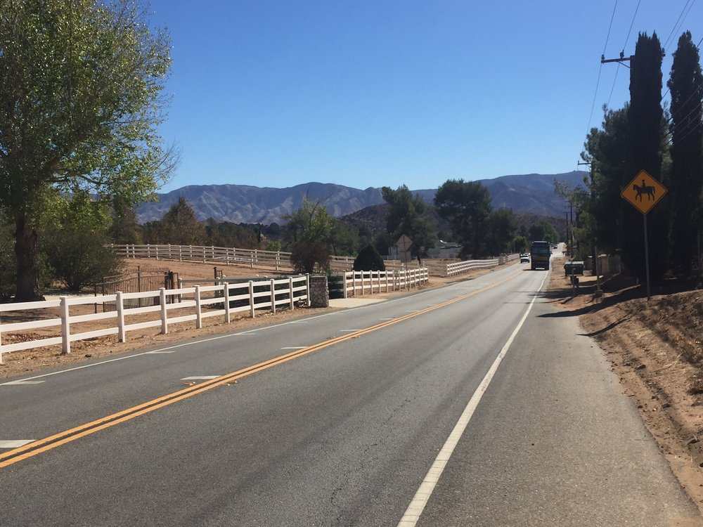 The road into Agua Dulce is lined with horse properties, but it's still a road walk