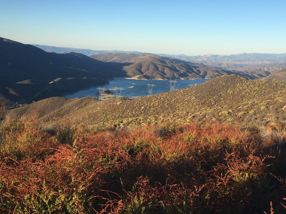 Bouquet Canyon reservoir is the most water we've seen in one place since entering Southern CA