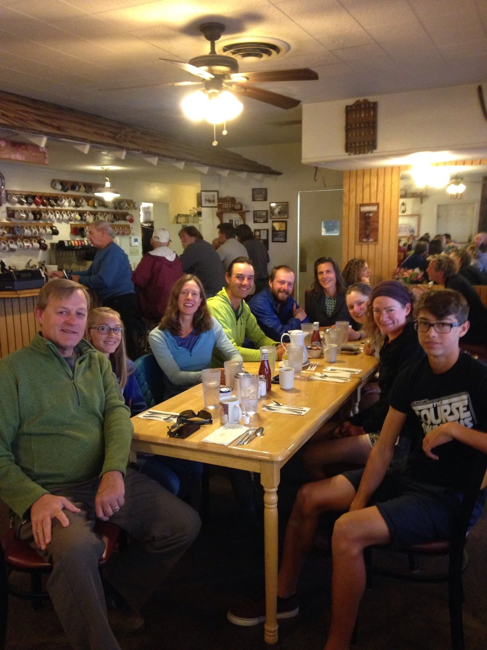 5 thru-hikers and a host family of 4 makes for a big table at Rick's Roadhouse.