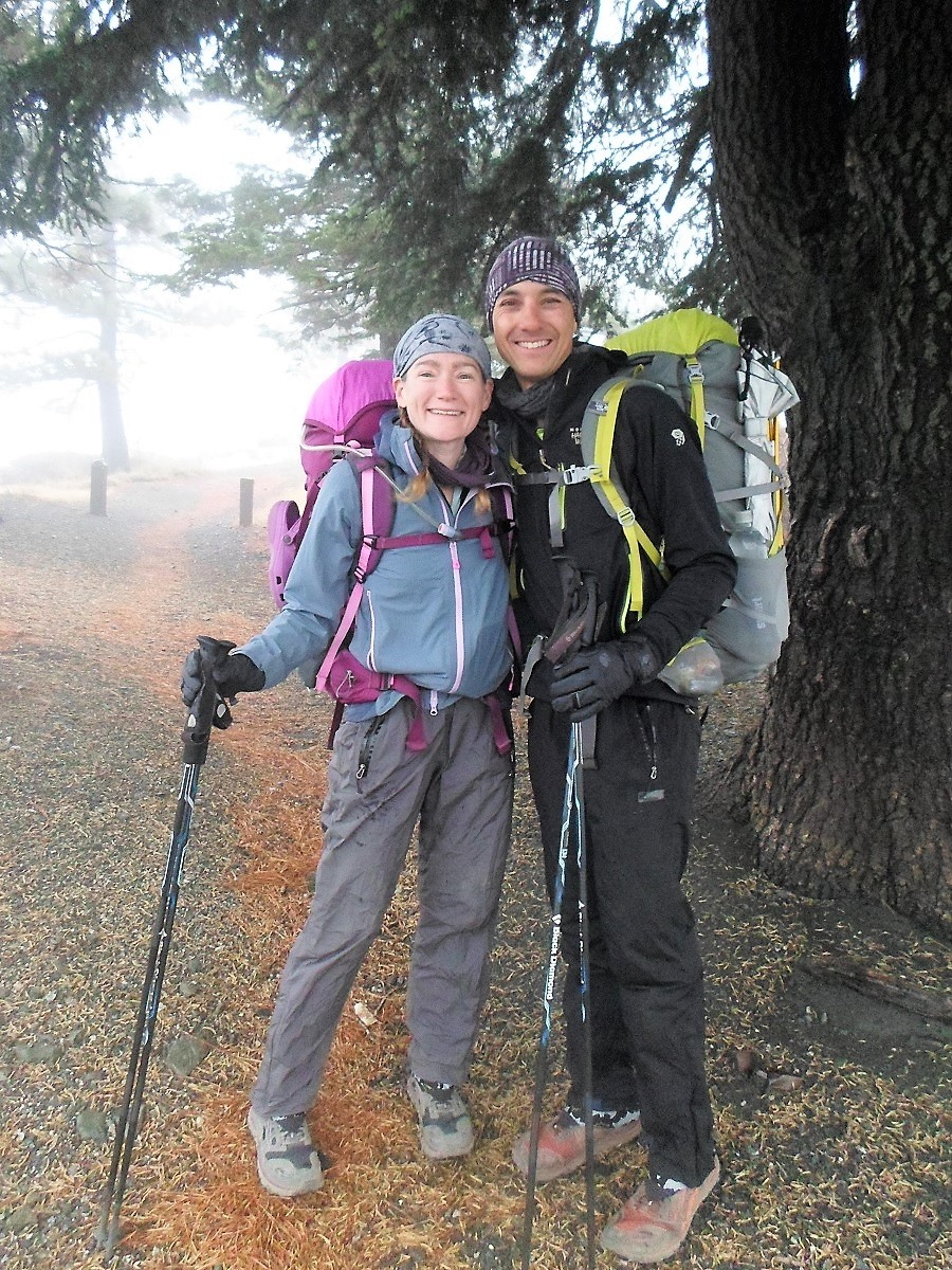 Setting out into a foggy wet morning at Inspiration Point on Hwy 2 (PC - Anna)