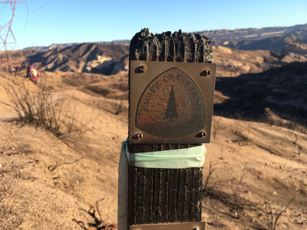 A burnt but still readable trail marker fared better than many others in the burn zone
