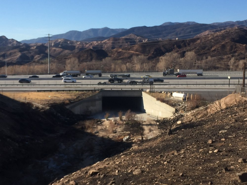 Looking back at our route under the I-15 freeway