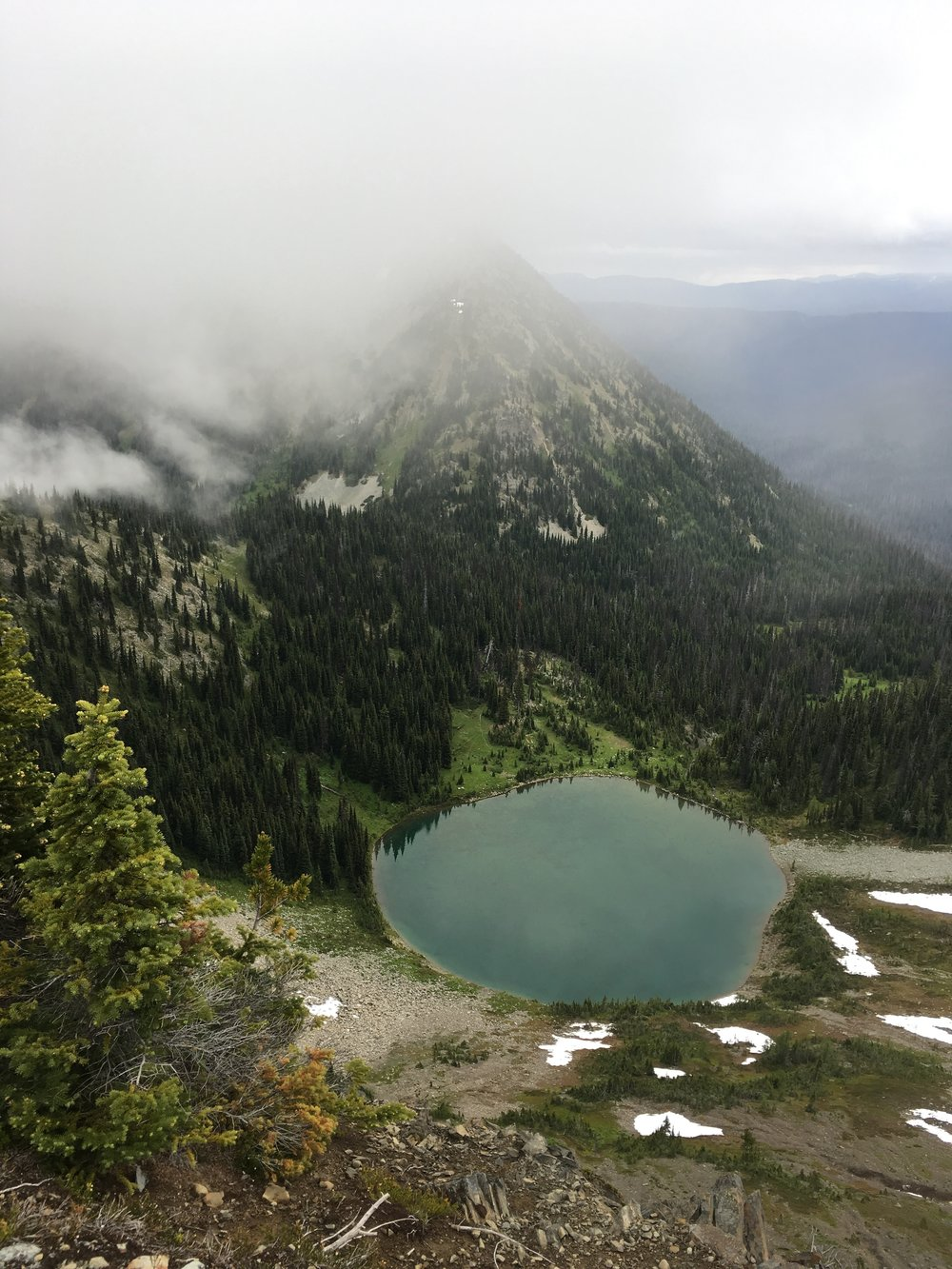 PCT Day 2 Hopkins Lake from Hopkins Pass vert.JPG