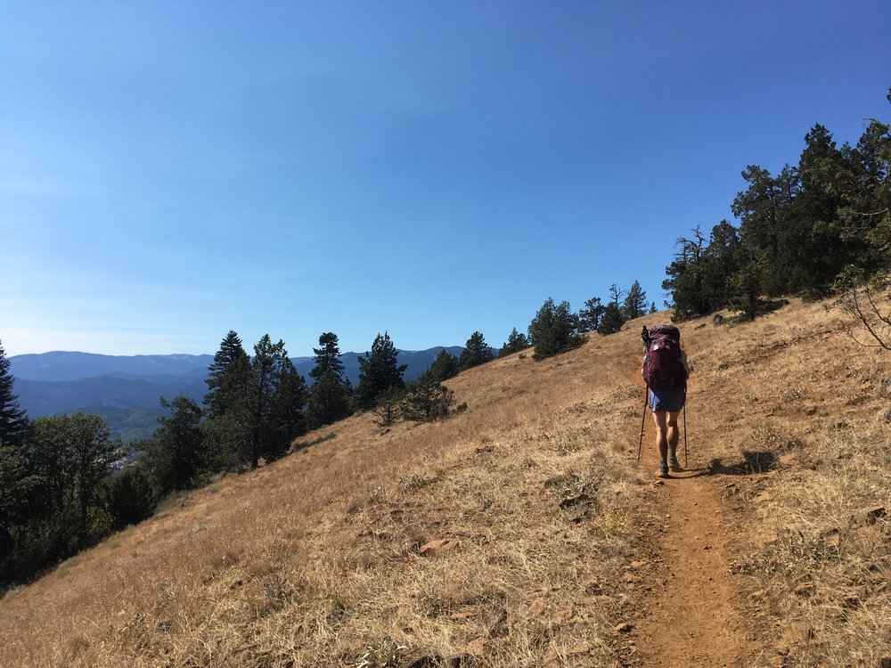 PCT Day 47- C on the grassy slopes near Ashland.JPG