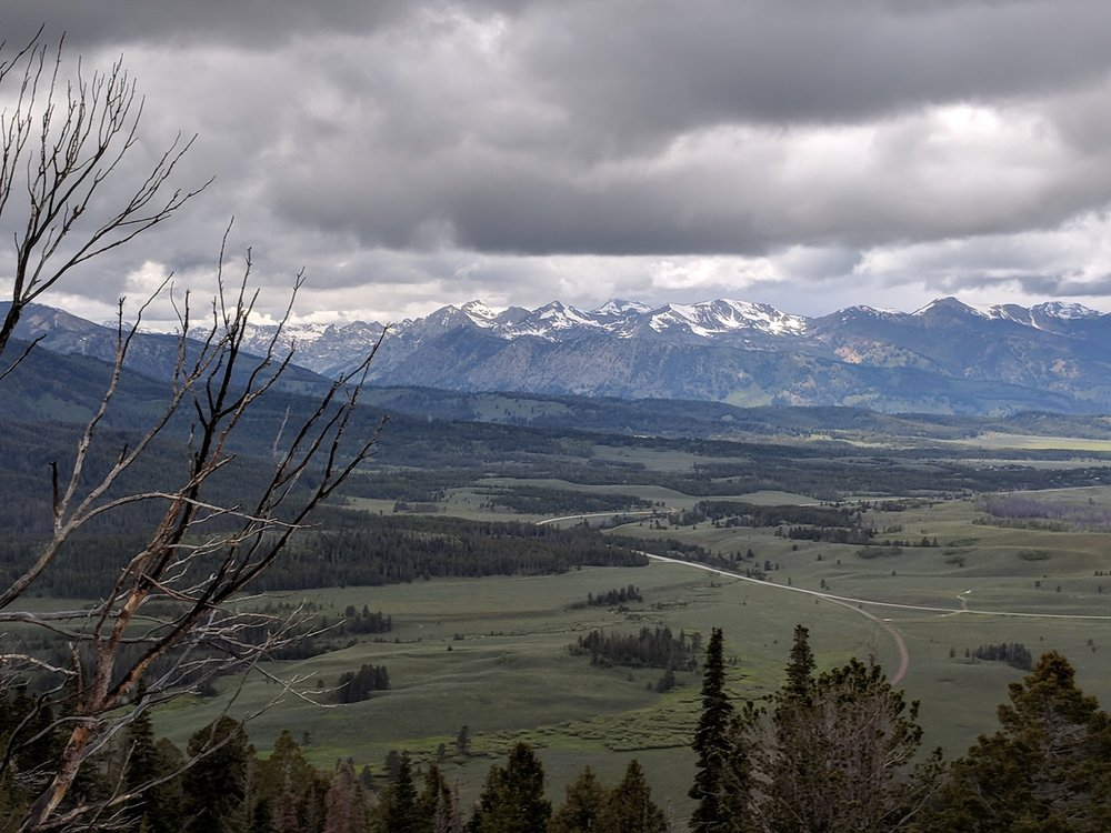 Our first view of the Sawtooth Mountains, from a lookout just north of Galena Summit