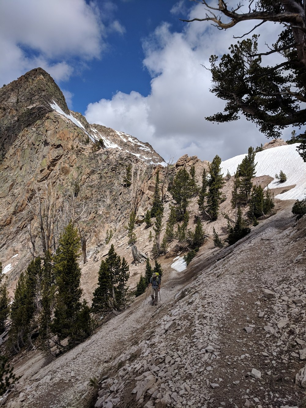 Andrew on the final switchbacks to the pass between Edith & Imogene Lakes