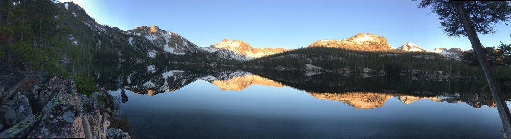 Morning golden hour, crisp and clear, at Imogene Lake.