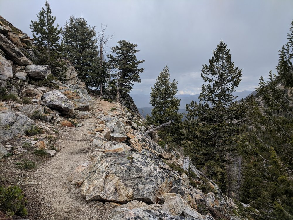 Trail above Alpine Lake as the sky became more ominous and it started to rain