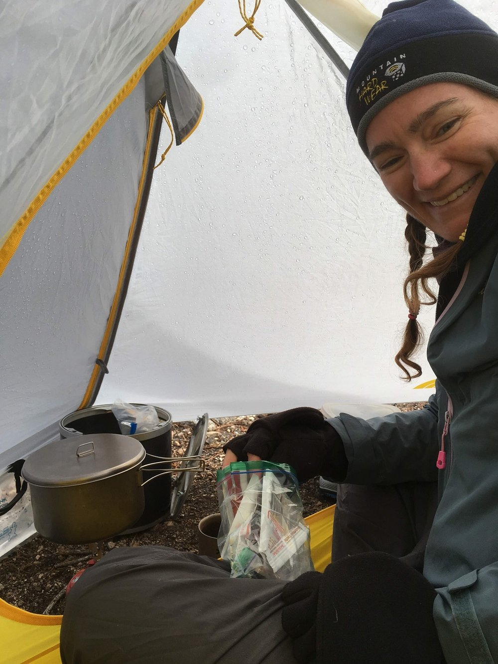 Danger: Never cook dinner in your tent. Unless it's storming.