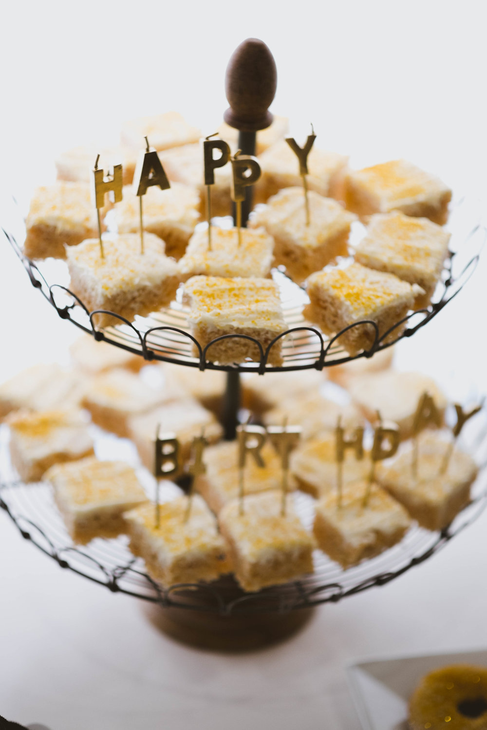 Rice Krispies Recipe   //  Gold Spray Painted Happy Birthday Candles  //  Gold Sprinkles  //  World Market Cupcake Stand