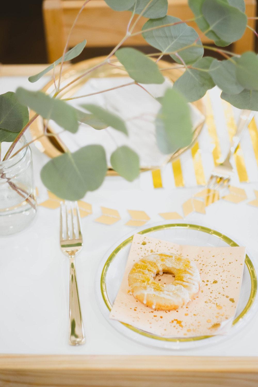 Gold Silverware  //  Gold Plate  //  Harlow & Grey Napkin  //  Vegan Donuts  //  Gold Sprinkles
