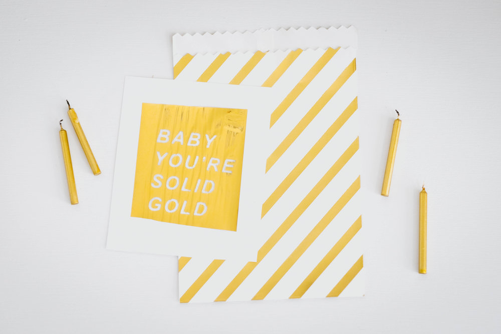 Gold Stripe Favor Bag   // DIY Foil Invitation
