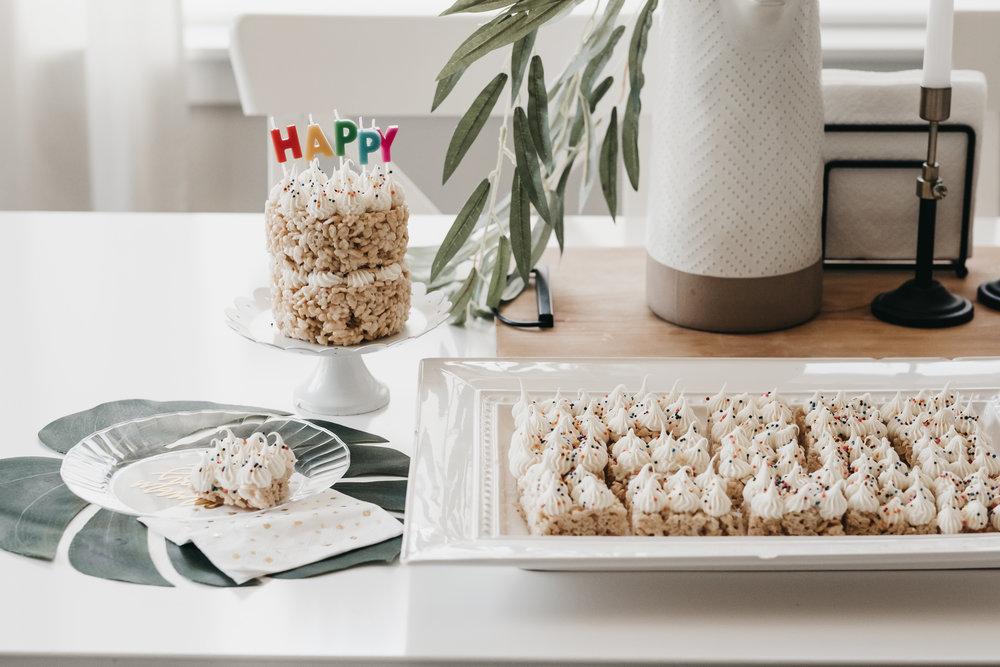 Vegan Rice Krispie Birthday Cake