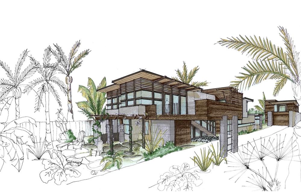 De La Costa Residence - Santa Cruz, CA - Rendering Sketch