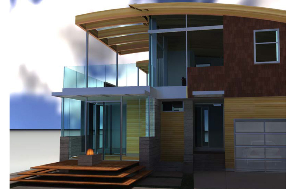Pleasure Point Residence 3d Design Exterior Front Closeup