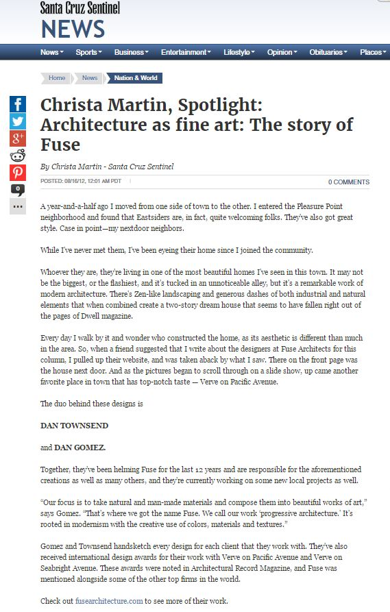 Fuse Architecture Press - Santa Cruz Sentinel Blog Post