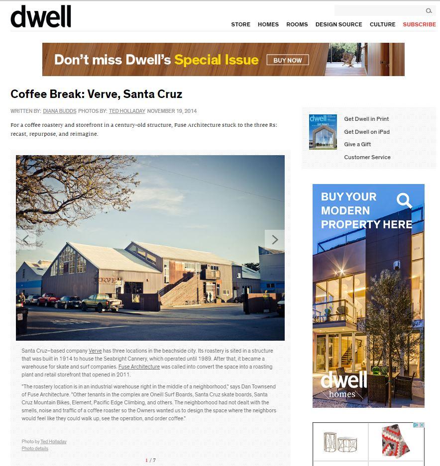 Fuse Architecture Press - Dwell Magazine Blog Post, Verve Coffee Roasters
