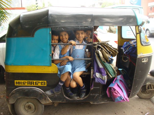 Students on their way to school