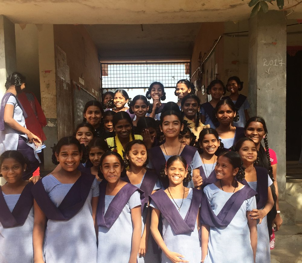 Our earrings artisans in a giggly mood at Shankaramphet High School