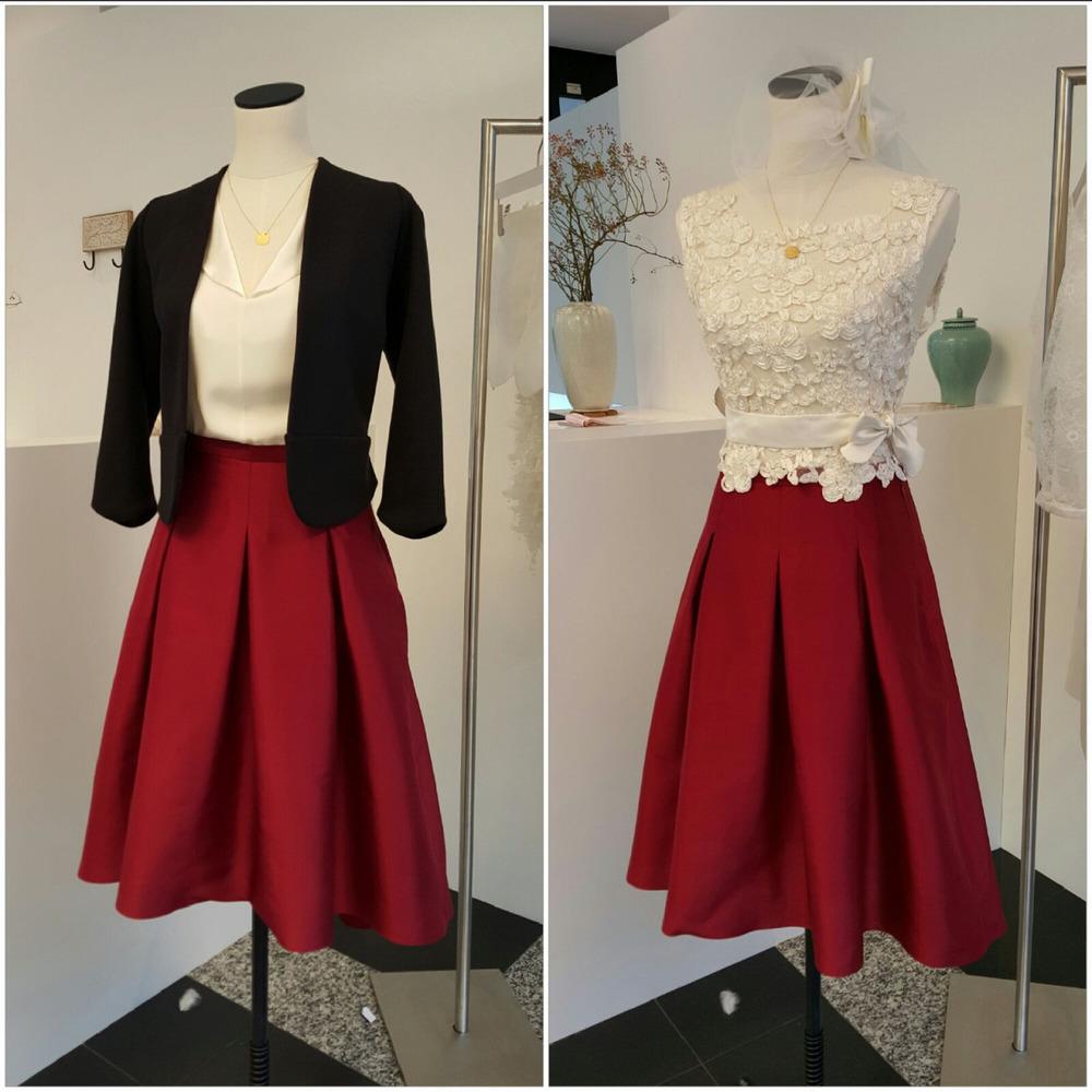 One skirt - Two different Looks!  Ob für das Standesamt oder für den Job oder Alltag…der Winerote Wildseiden Rock sieht top aus!
