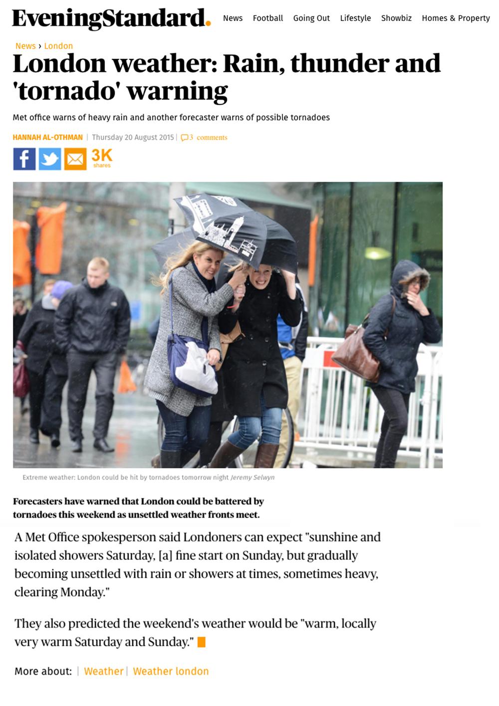 August 2015 Evening Standard