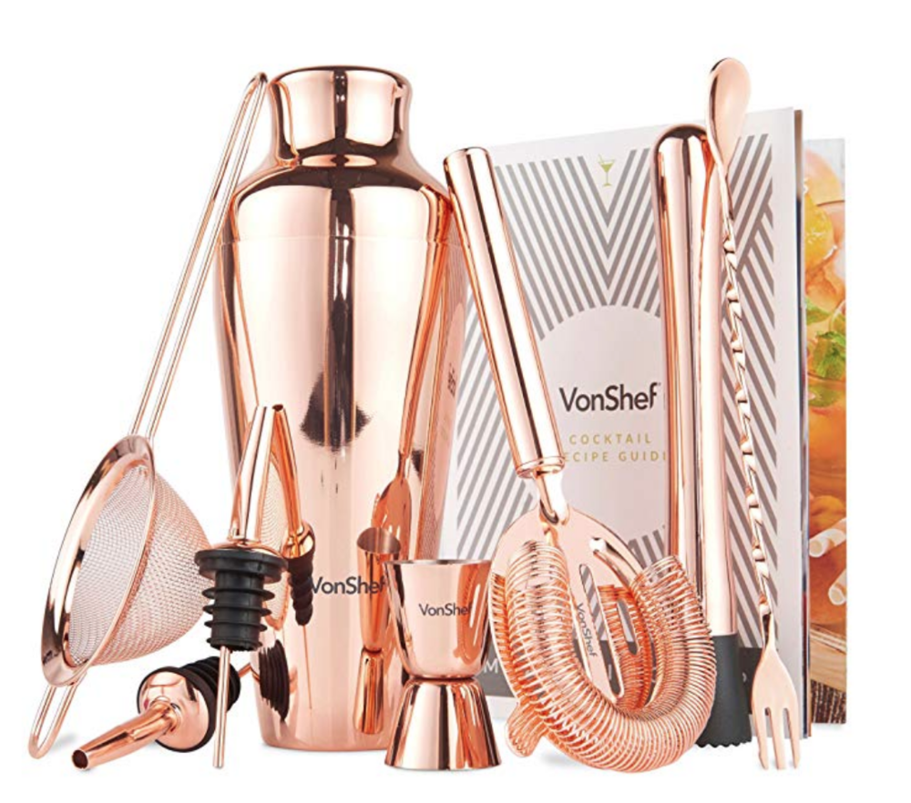 Copy of VonShef Premium Copper Parisian Cocktail Shaker Barware Set in Gift Box with Recipe Guide, Cocktail Strainers, Twisted Bar Spoon, Jigger, Muddler and Pourers